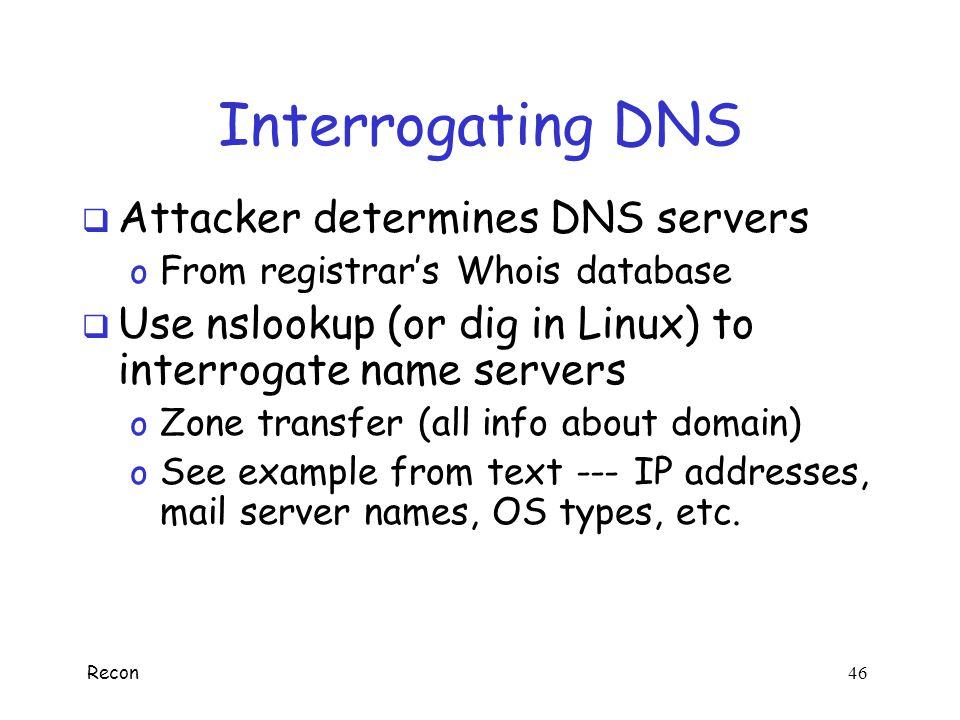Interrogating DNS Attacker determines DNS servers