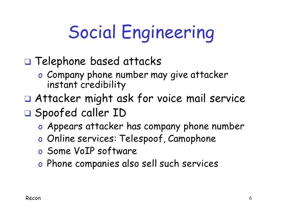 Social Engineering Telephone based attacks