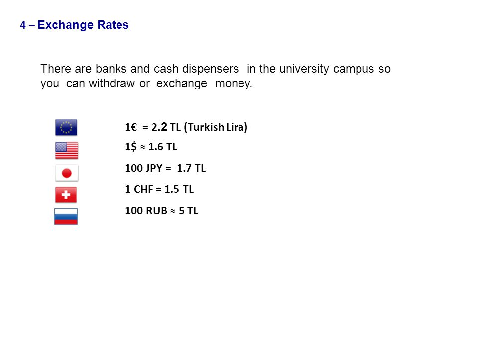 4 – Exchange Rates There are banks and cash dispensers in the university campus so. you can withdraw or exchange money.