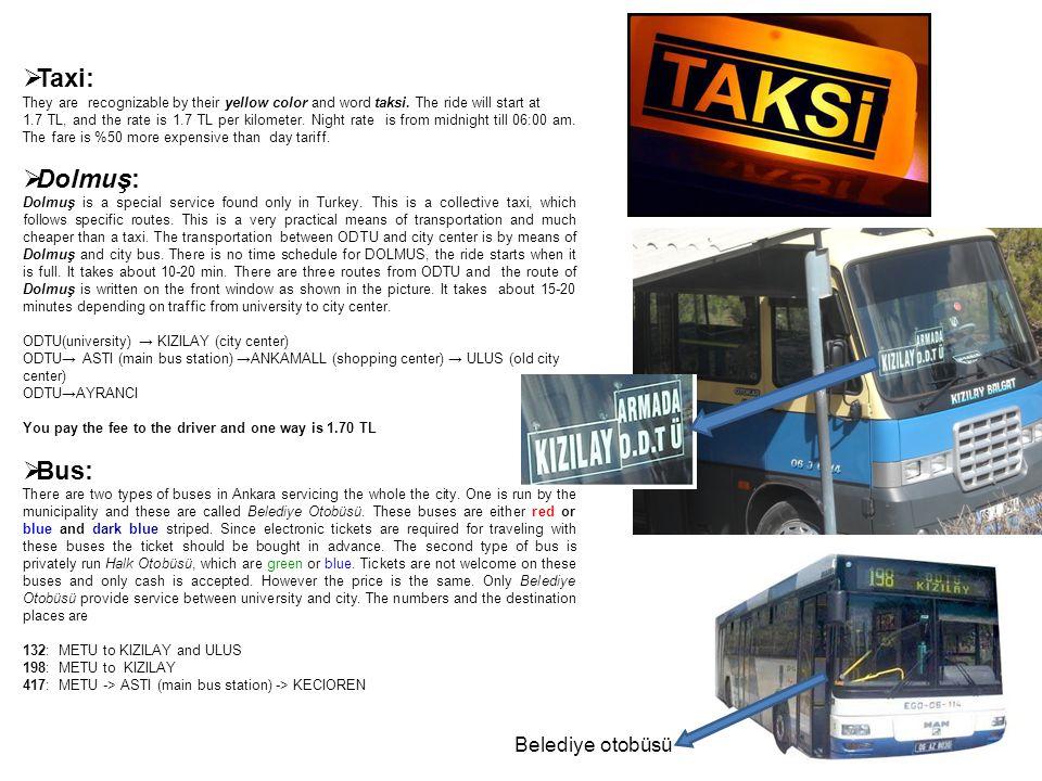 Taxi: Dolmuş: Bus: Belediye otobüsü