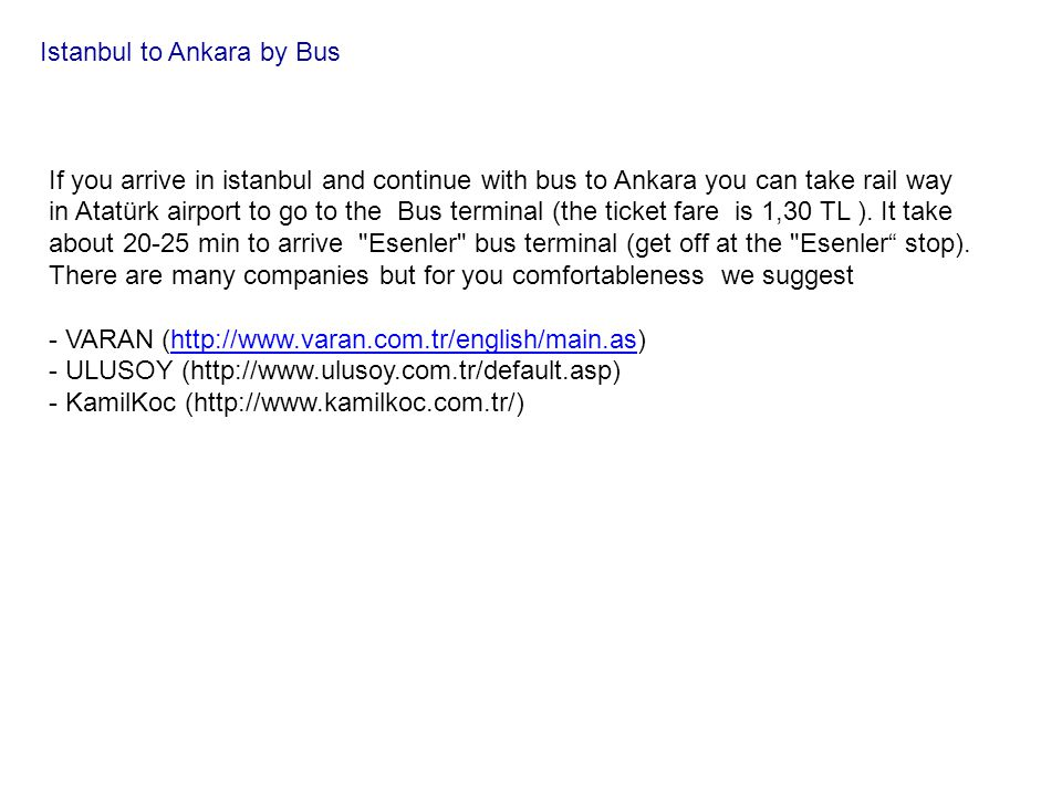 Istanbul to Ankara by Bus