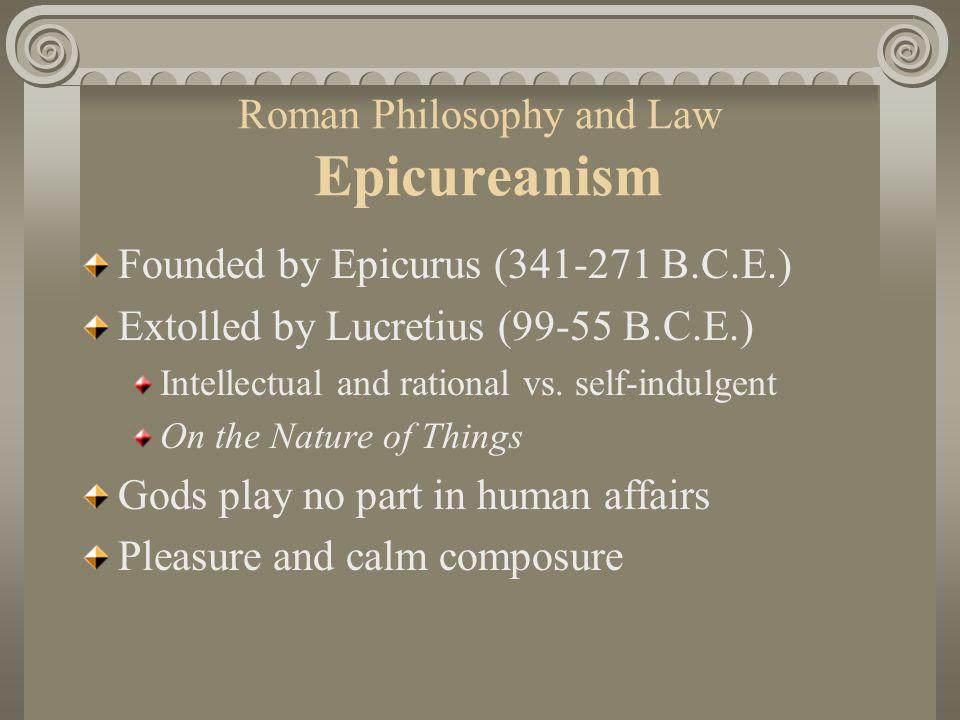 Roman Philosophy and Law Epicureanism