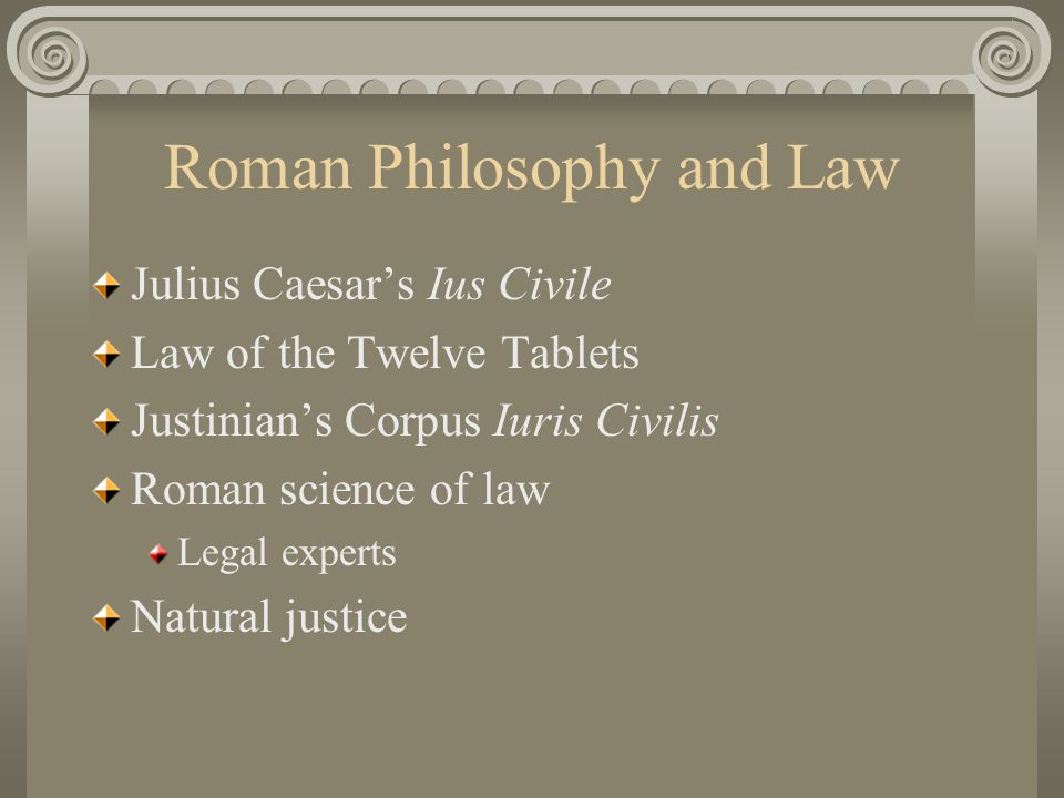 Roman Philosophy and Law
