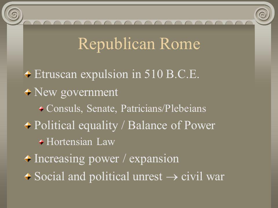 Republican Rome Etruscan expulsion in 510 B.C.E. New government