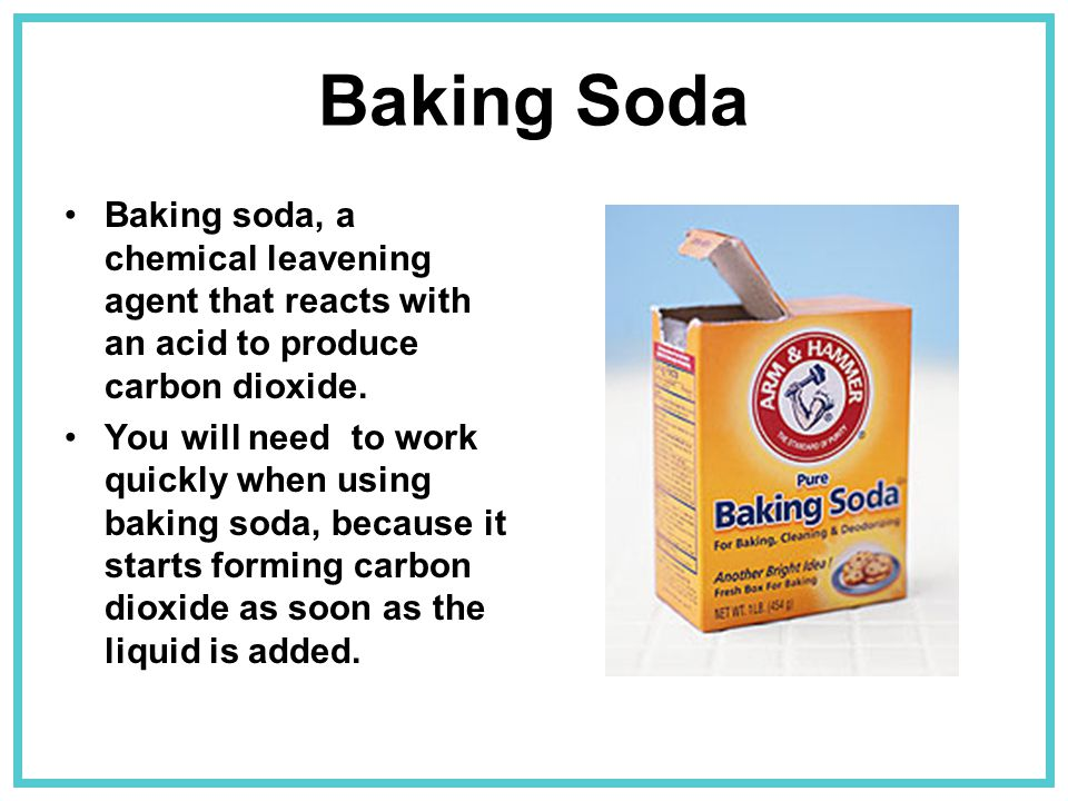 Baking Soda Baking soda, a chemical leavening agent that reacts with an acid to produce carbon dioxide.