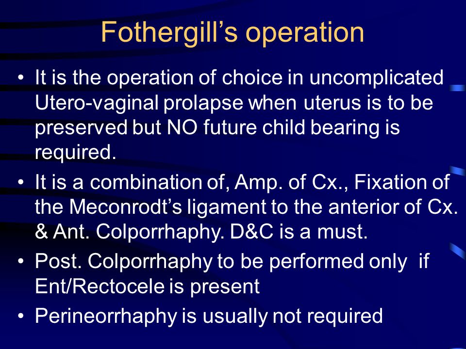 Fothergill's operation