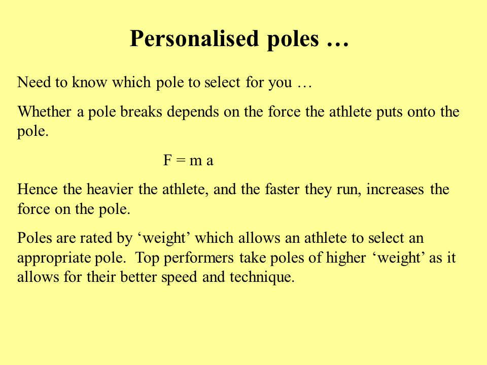 Personalised poles … Need to know which pole to select for you …