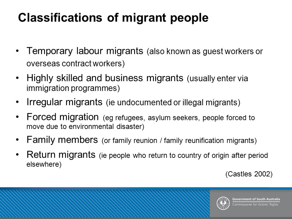 Classifications of migrant people