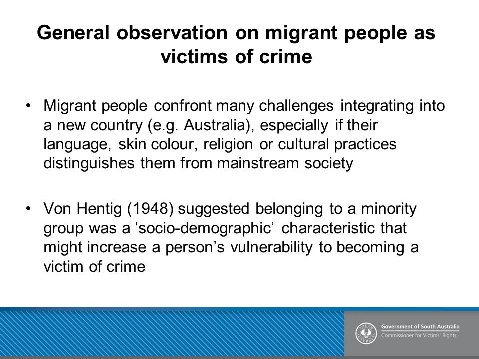 General observation on migrant people as victims of crime