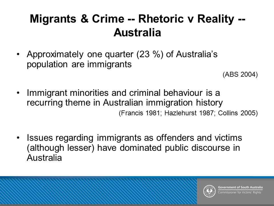 Migrants & Crime -- Rhetoric v Reality -- Australia