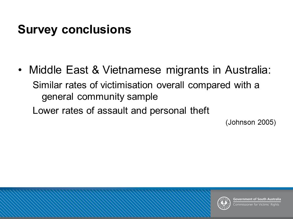 Survey conclusions Middle East & Vietnamese migrants in Australia: