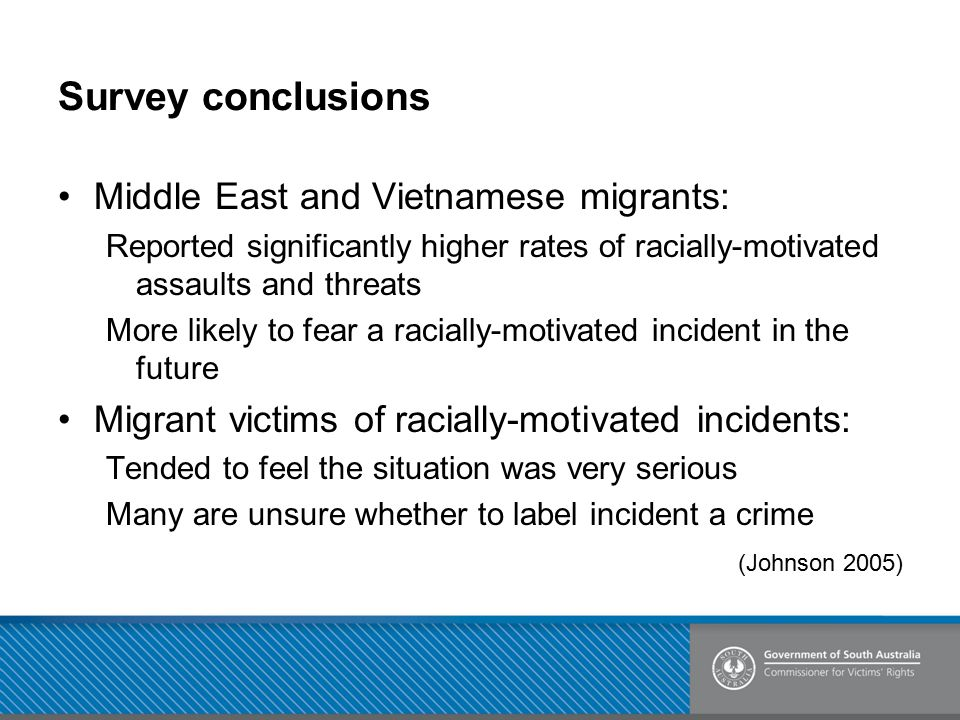 Survey conclusions Middle East and Vietnamese migrants: