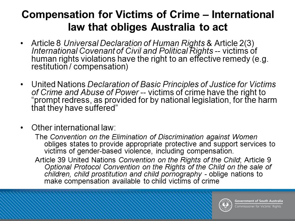 Compensation for Victims of Crime – International law that obliges Australia to act