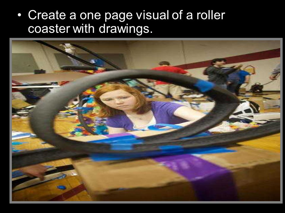 Create a one page visual of a roller coaster with drawings.