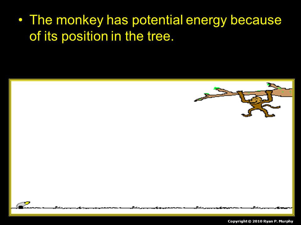 The monkey has potential energy because of its position in the tree
