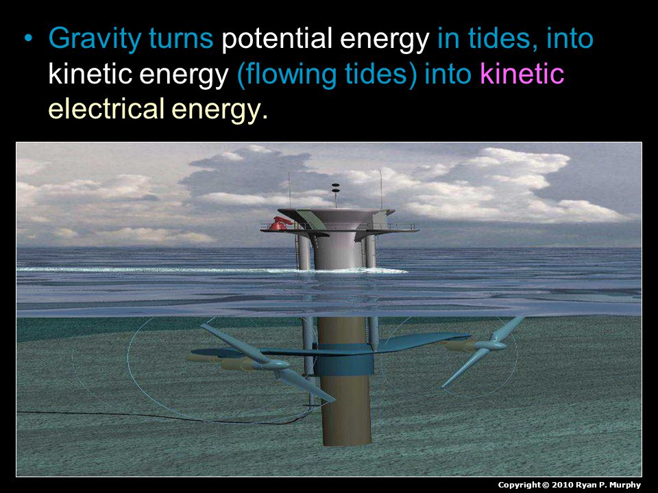 Gravity turns potential energy in tides, into kinetic energy (flowing tides) into kinetic electrical energy.