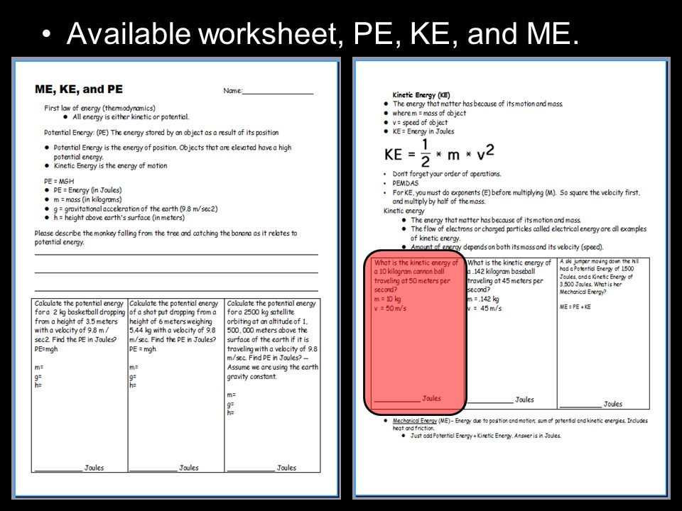 Available worksheet, PE, KE, and ME.