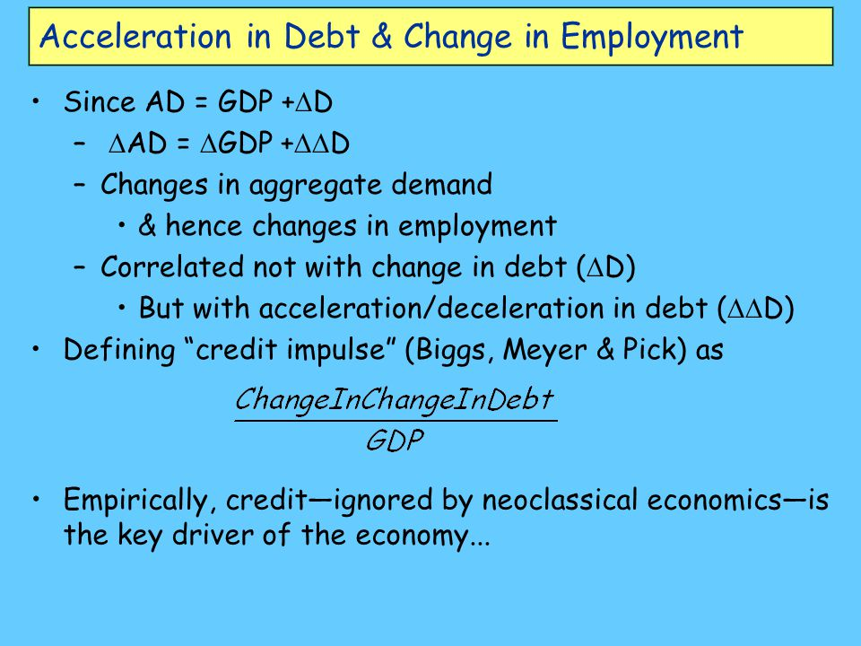 Acceleration in Debt & Change in Employment