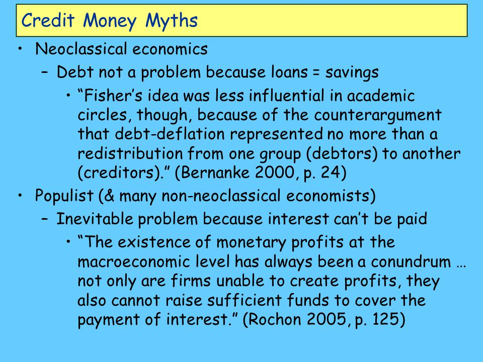 Credit Money Myths Neoclassical economics