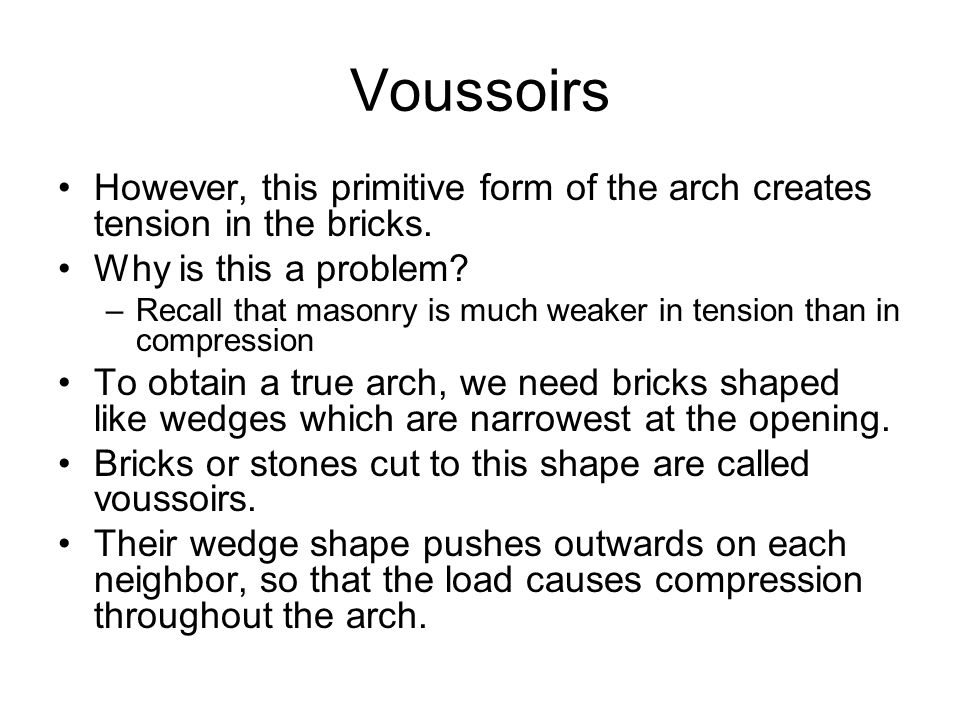 Voussoirs However, this primitive form of the arch creates tension in the bricks. Why is this a problem