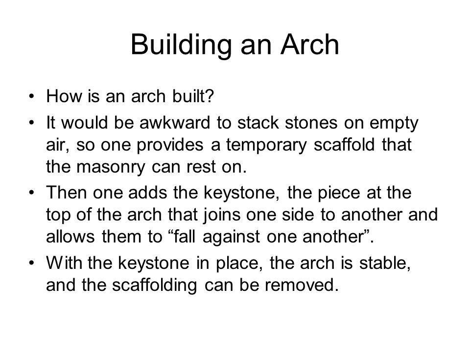 Building an Arch How is an arch built