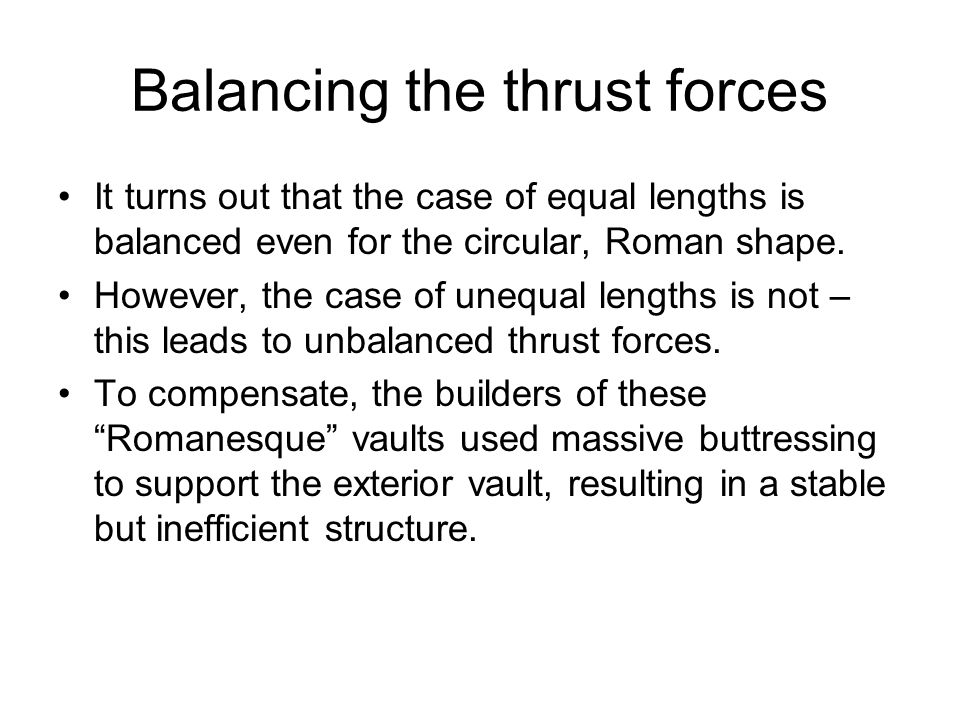 Balancing the thrust forces