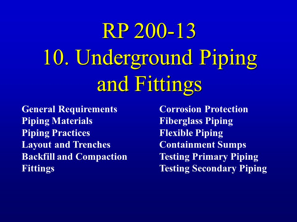 10. Underground Piping and Fittings