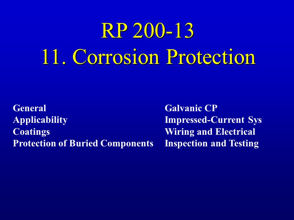 RP 200-13 11. Corrosion Protection General Applicability Coatings
