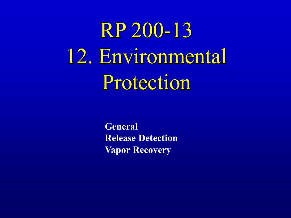12. Environmental Protection