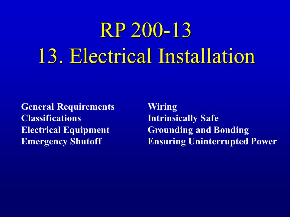 13. Electrical Installation