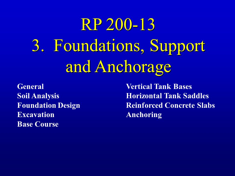 3. Foundations, Support and Anchorage