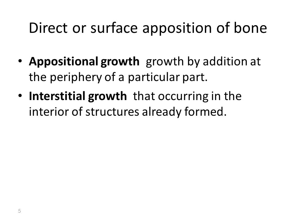 Direct or surface apposition of bone