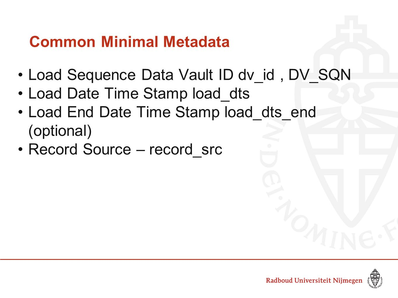 Common Minimal Metadata