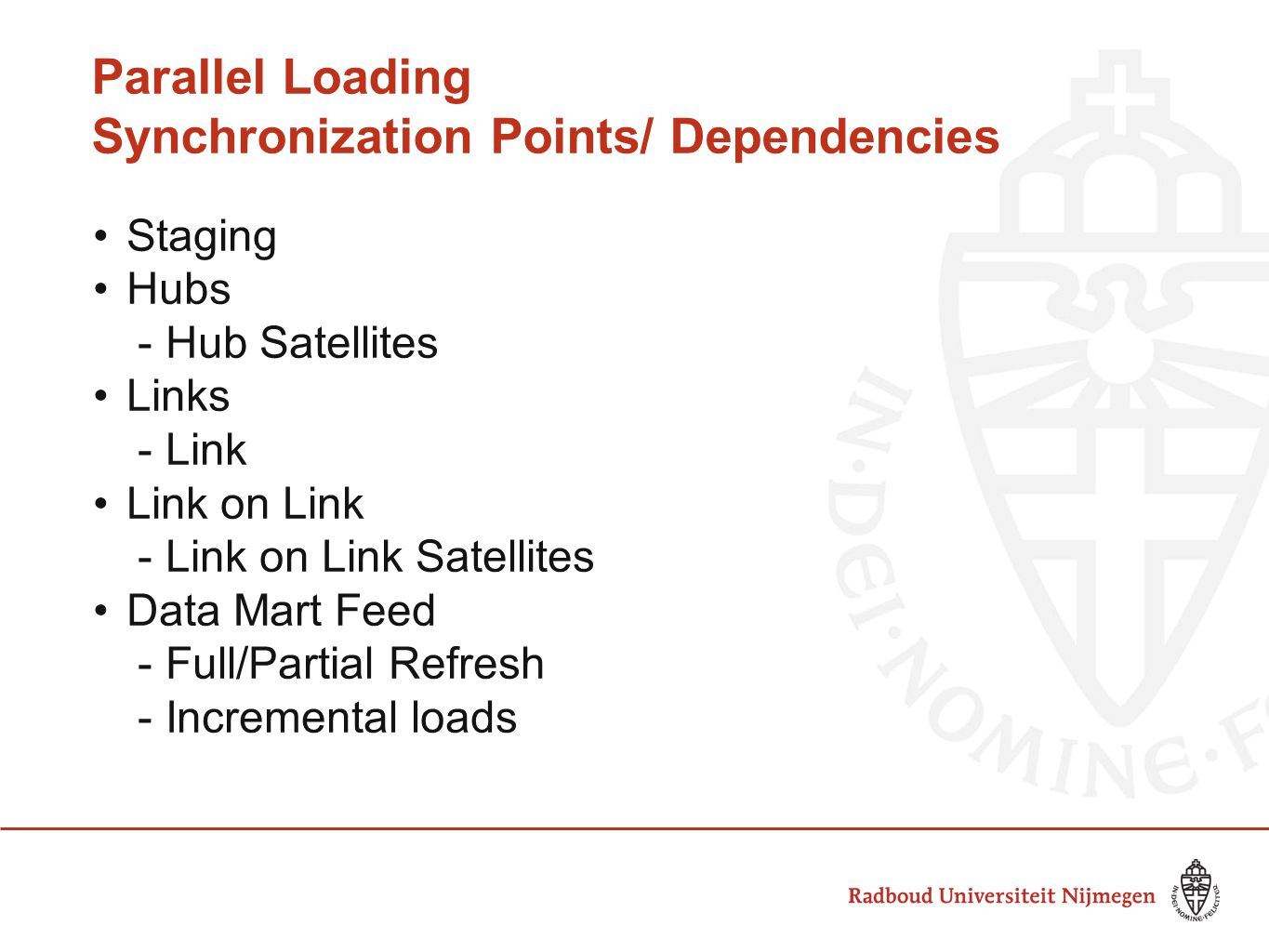 Parallel Loading Synchronization Points/ Dependencies