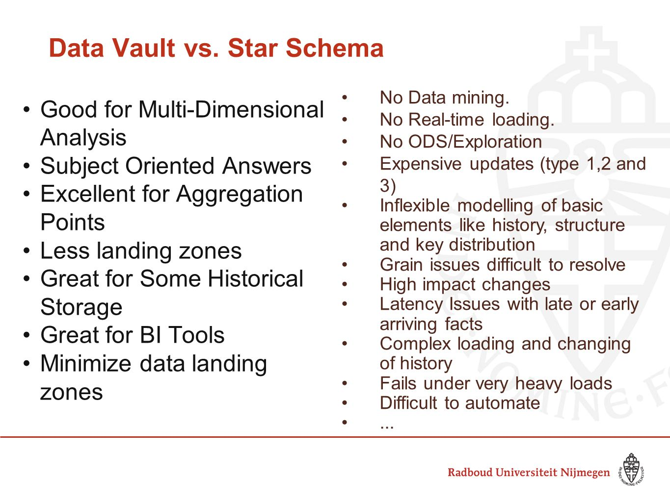 Data Vault vs. Star Schema