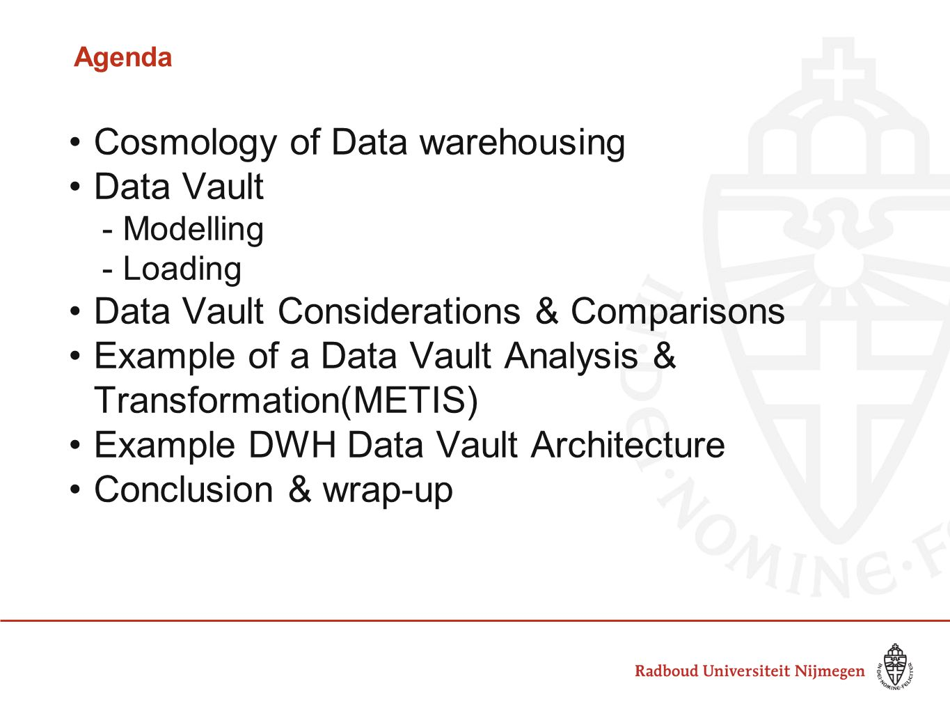 Cosmology of Data warehousing Data Vault