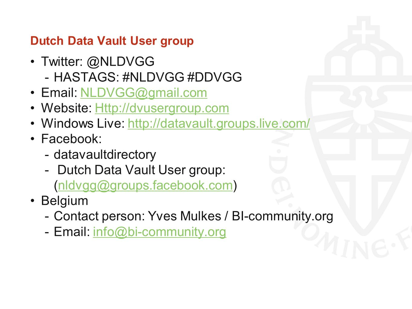 Dutch Data Vault User group