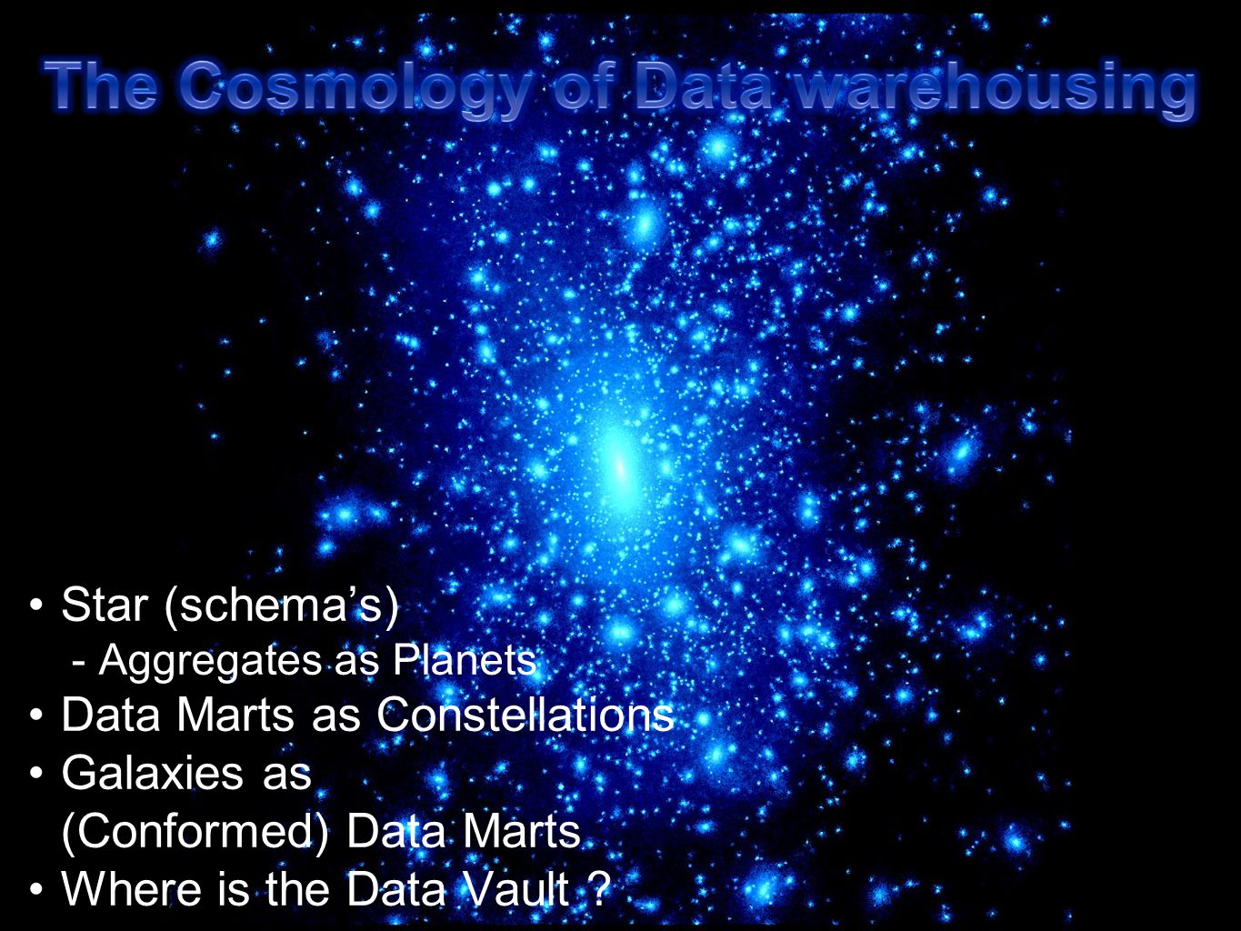 The Cosmology of Data warehousing