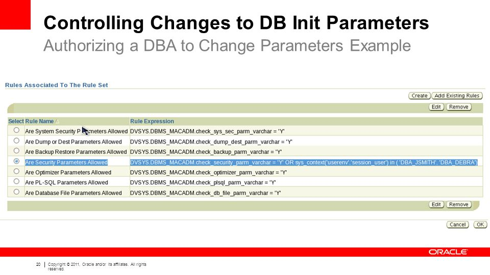 Controlling Changes to DB Init Parameters