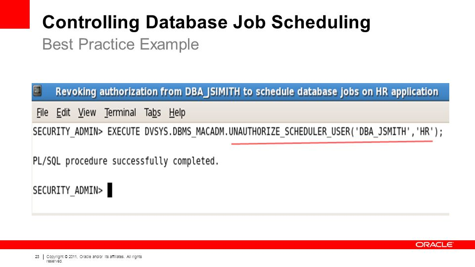 Controlling Database Job Scheduling