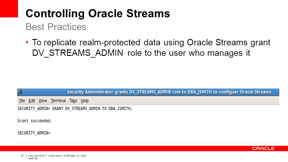 Controlling Oracle Streams