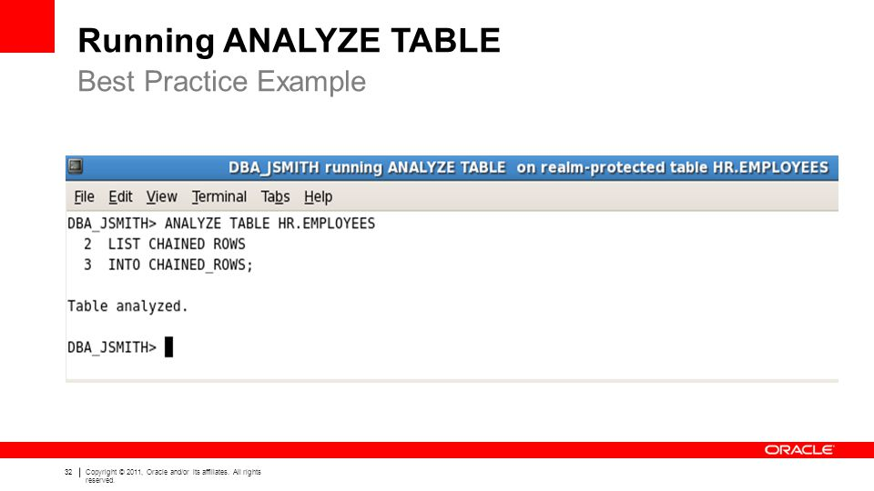 Running ANALYZE TABLE Best Practice Example