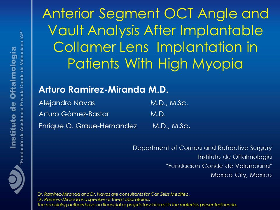 Anterior Segment OCT Angle and Vault Analysis After Implantable Collamer Lens Implantation in Patients With High Myopia