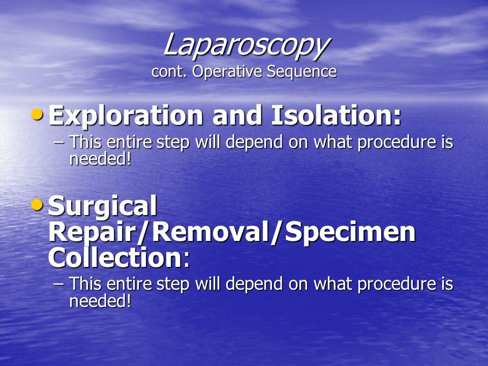 Laparoscopy cont. Operative Sequence