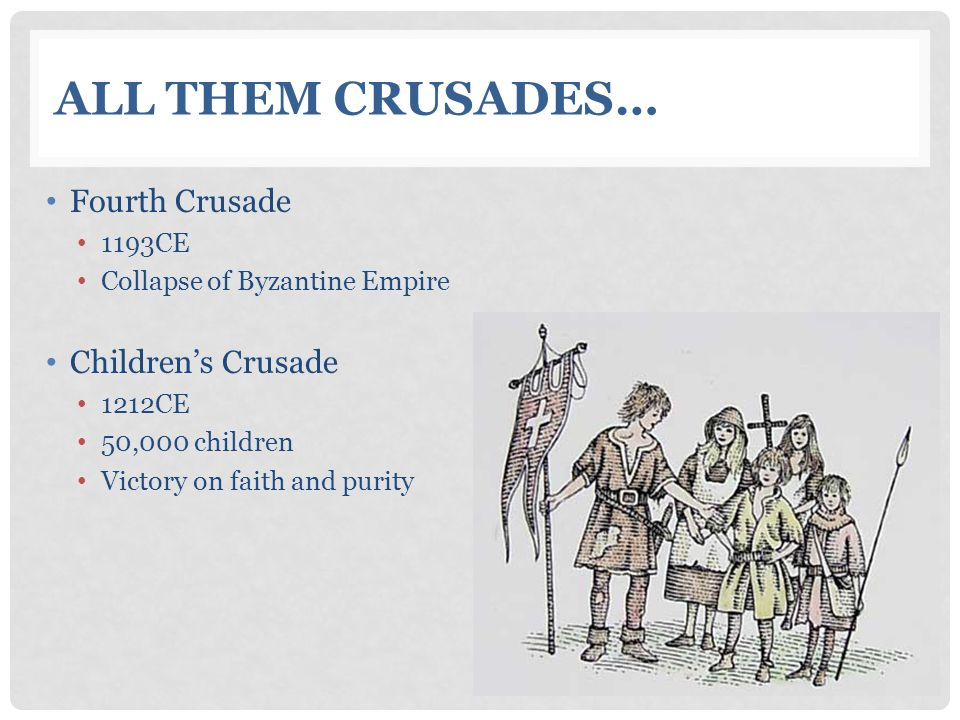 All Them Crusades… Fourth Crusade Children's Crusade 1193CE