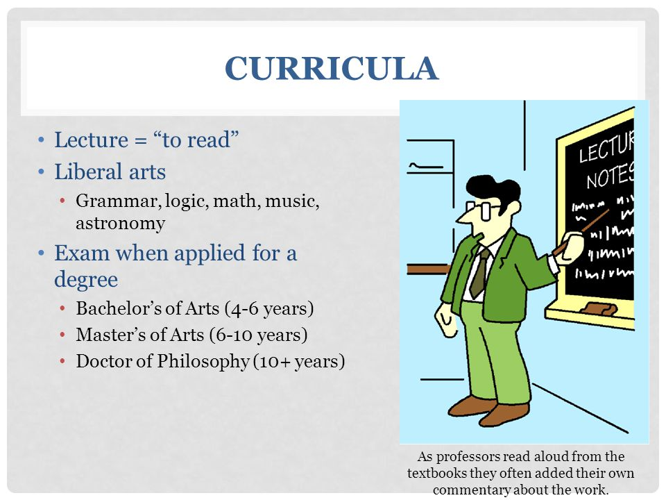 Curricula Lecture = to read Liberal arts