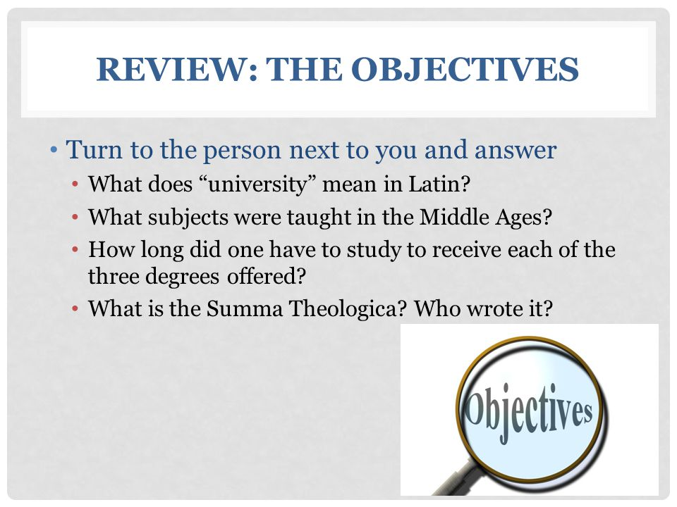 Review: The Objectives