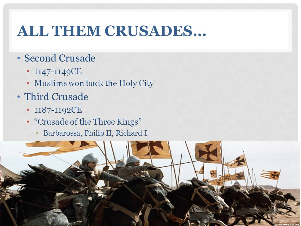 All Them Crusades… Second Crusade Third Crusade 1147-1149CE