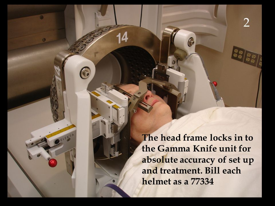 2 The head frame locks in to the Gamma Knife unit for absolute accuracy of set up and treatment.