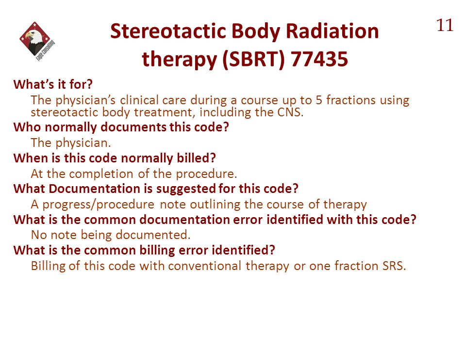 Stereotactic Body Radiation therapy (SBRT) 77435